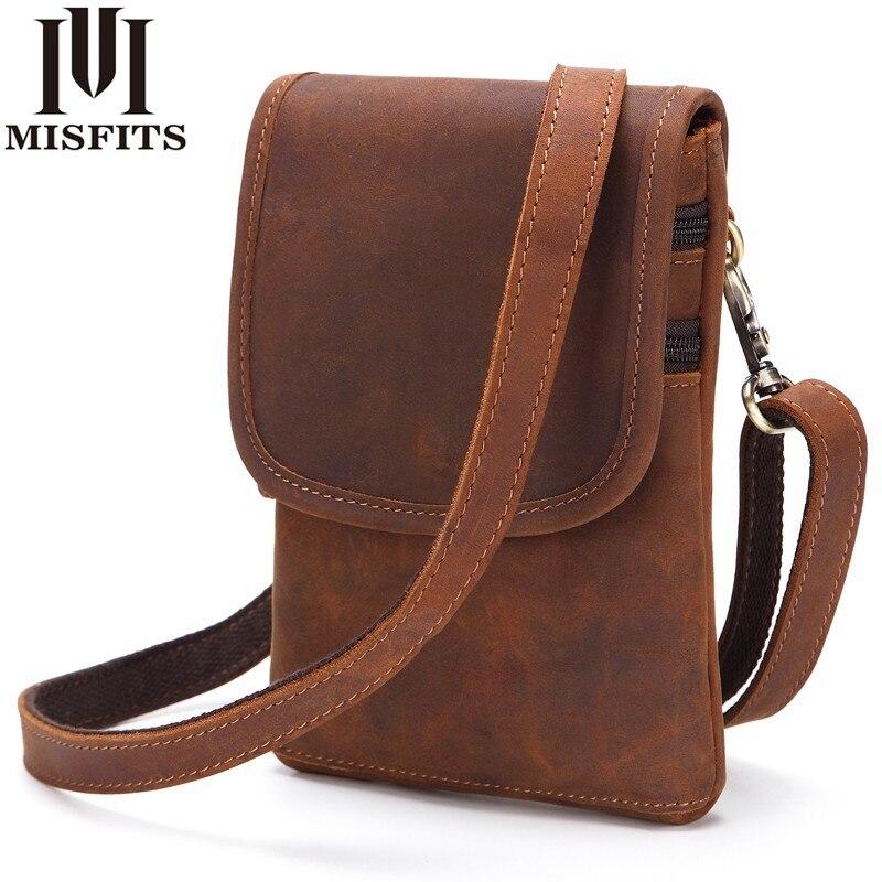 8acc27bfb418 MISFITS Genuine Leather Men Waist Pack Travel Belt Bag Cowhide Functional  Messenger Bag Vintage Belt Loop Shoulder Bags For Male