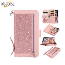 KISSCASE Diamond-Studded zipper Holder Cases for Huawei P20 lite Glitter Wallet cases Mate 20 10 pro p20 Cover