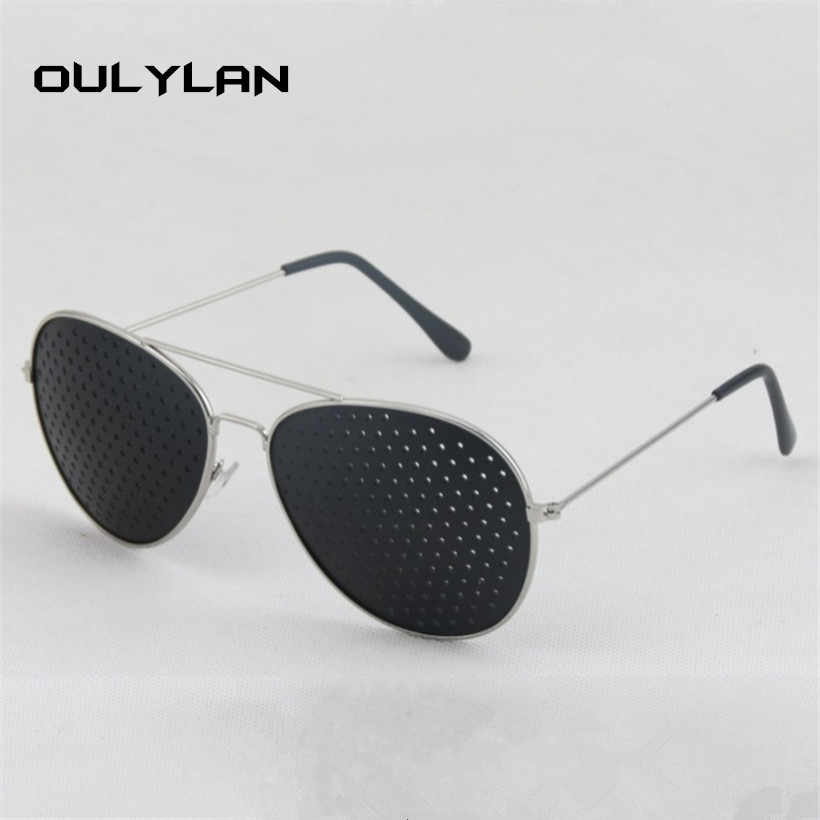 Oulylan Women Men Sunglasses Metal Pinhole Glasses Relieve Eye Fatigue Small Hole Sunglass