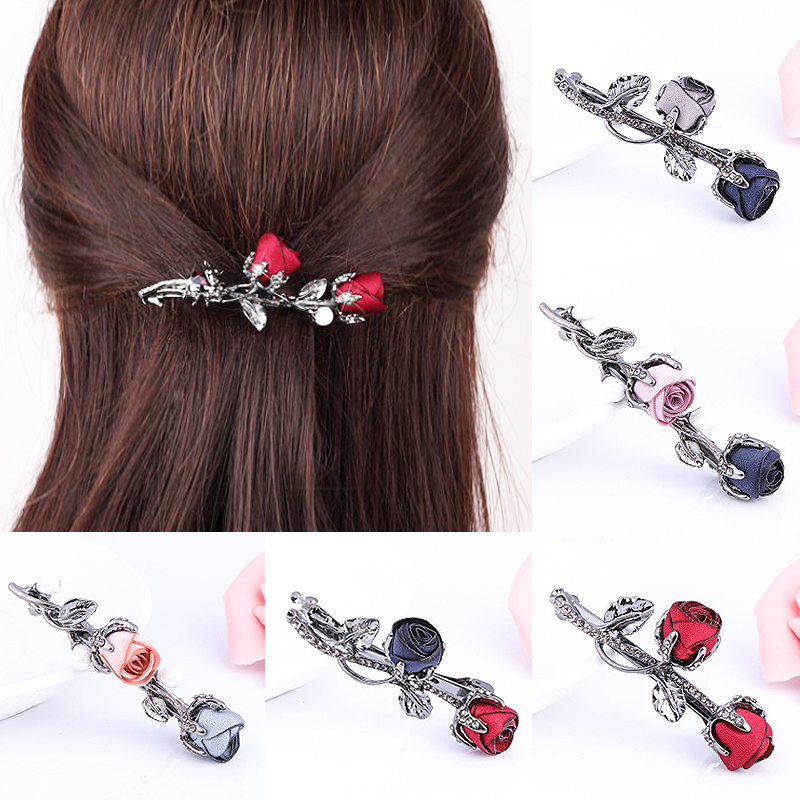 Christmas Gifts Hair Accessories Rhinestone Leaves Barrettes Ponytail Holder Crystal Rose Flower Black Hair Clip 1PC Women