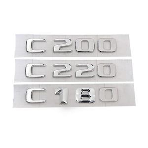 Image 3 - 3D Chrome Car Model Refitting Badge Sticker Car Trunk Rear Emblem Badge Chrome Letters For Mercedes C Class C180 C200 C220