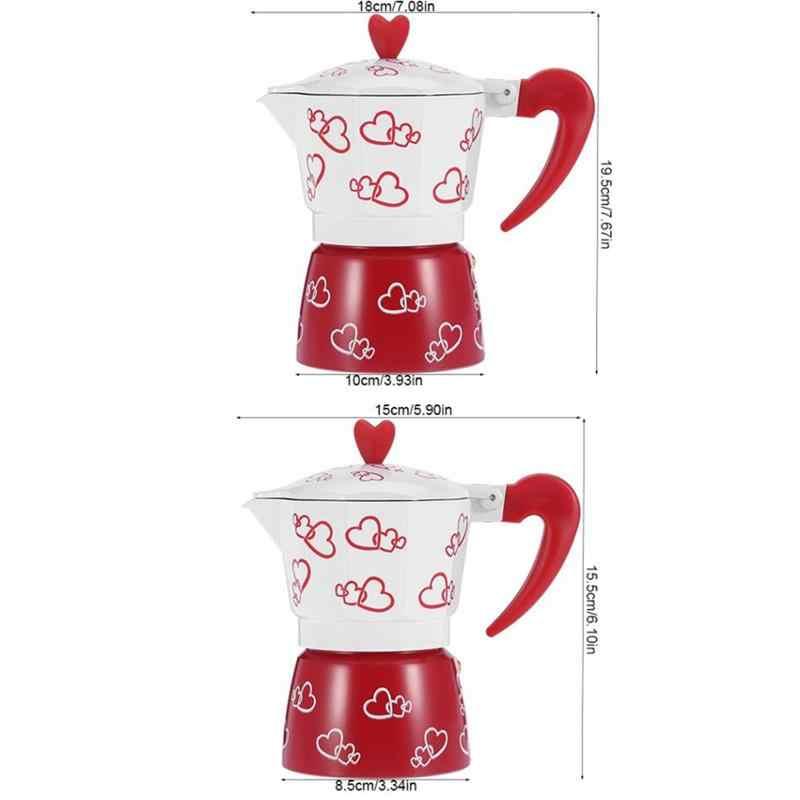 Aluminum Alloy Pot Home Kitchen Heart Printed Coffee Maker Percolator Stove