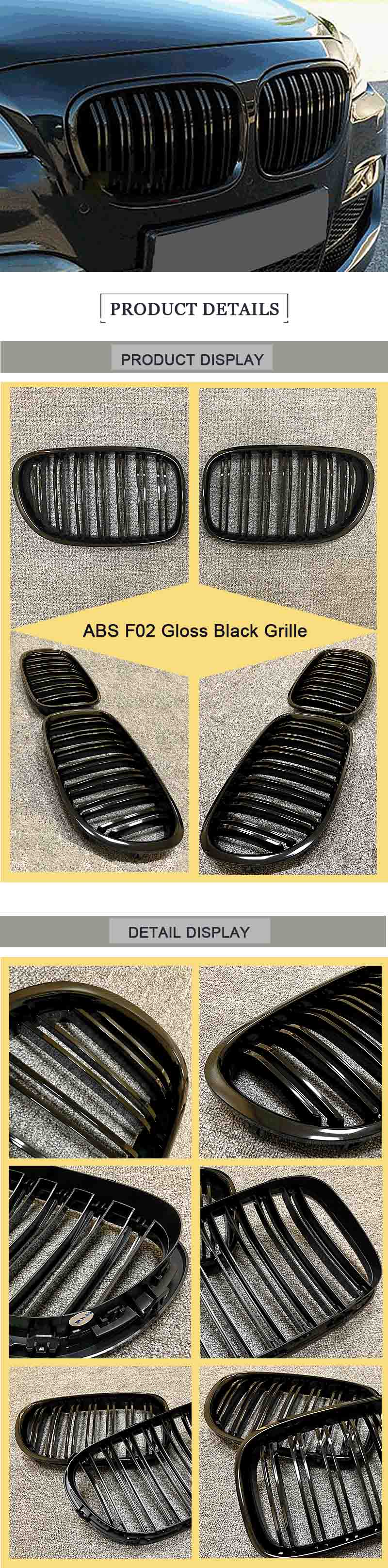 F02 Front Grille ABS Gloss Black For F02 M Style Grills 7 Series 740i 745i 750i 760Li Double Slats Front Kidney Grille 2008 2014 in Racing Grills from Automobiles Motorcycles