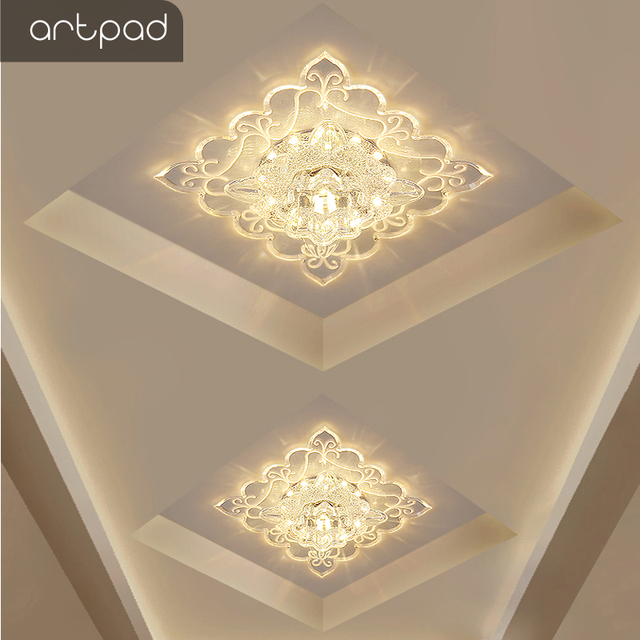 Artpad Chinese Style Square Ceiling Lights Acrylic Lampshade Surface Flush Mounted Indoor Ceiling Lamp Led 3W Bulb Included