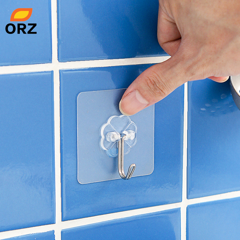 ORZ 10 PCS Kitchen Organizer Hooks Wall Key Holder Magnetic Hook Transparent Wall Hangers Bathroom Office Organizer