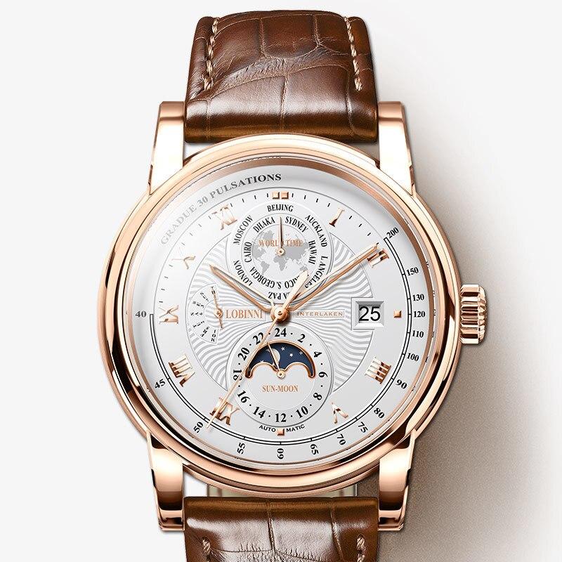 Homens Relógio de Luxo Da Marca LOBINNI Moon Phase Mecânico Automático dos homens Wirstwatches Couro Safira relógio Tempo Do Mundo L16003-5