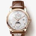 LOBINNI Mannen Horloge Luxe Merk Maanfase Automatische Mechanische mannen Wirstwatches Saffier Lederen Wereld Tijd relogio L16003-5