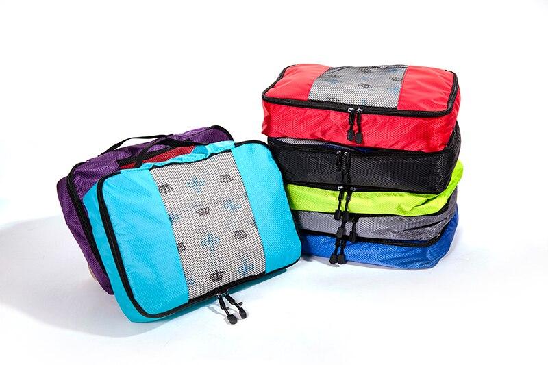 Reisetaschen 4 Teile/satz Männer Und Frauen Gepäck Reisetaschen Verpackung Cubes Veranstalter Mode Doppel-reißverschluss Wasserdichte Polyester Tasche Großhandel
