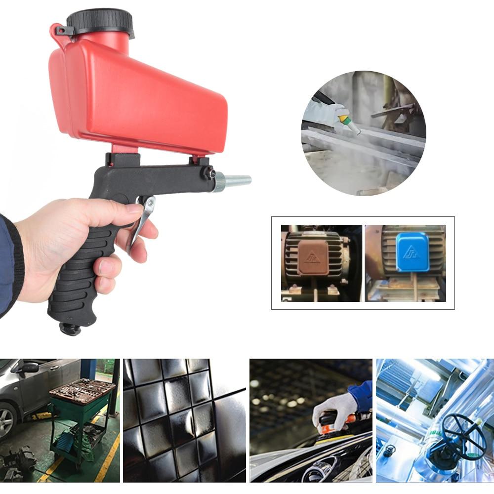 Portable Gravity Sandblasting Gun Pneumatic Professional Small Sand Blasting Machine Durable Aluminum Tools For Spray Polishing