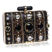 Embroidery Women Handbags Beaded Chain Accessory Metal Day Clutches Party Wedding Evening Bags One Side Diamonds Purse