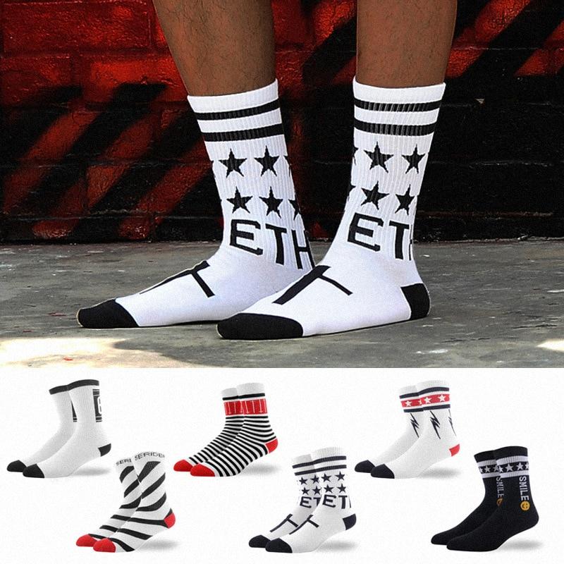 Men Socks Funny Letter Stripes Stars Stitching Harajuku Skate Hip Hop Street Style Casual Fashion Dress Cotton Socks Black White
