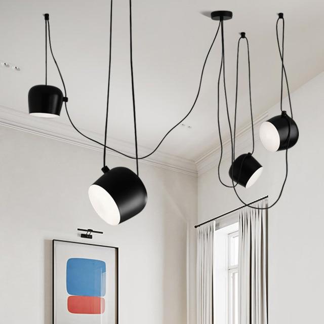 أمريكيّ ألومنيوم صناعي عنكبوت قلادة مصباح مع أكريليك أسود أبيض LED سقف معلق مصباح مكتب مقهى بار ديكور