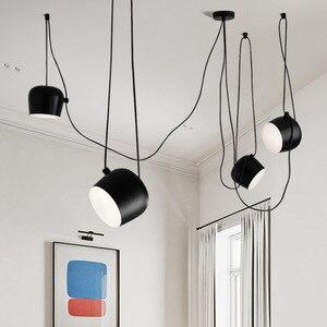 Image 1 - อุตสาหกรรมอลูมิเนียมแมงมุมจี้โคมไฟอะคริลิคสีดำสีขาวLEDแขวนโคมไฟเพดานสำนักงานCafe Bar Decor