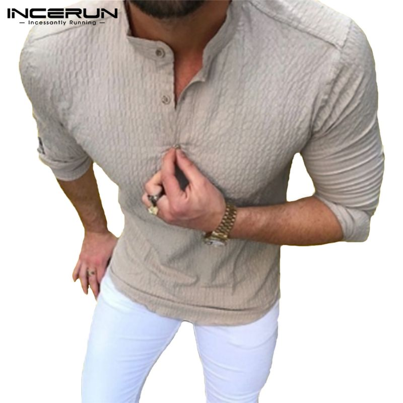 INCERUN Fashion Men's Casual Shirt Long Sleeve Slim Fit Stand Collar Shirt Men Solid Color Button Leisure Streetwear Camisa 3XL