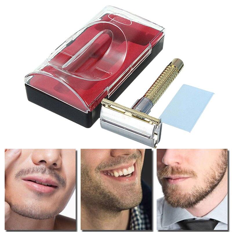 New Men's Safety Handheld Manual Shaver + Double Edge Safety Razor Blade Box M01449