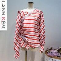 LANMREM New Fashion Letter Printing Red White Striped Shirt For Women High Waist Asymmetry Split Joint Irregular Blouse YH17403