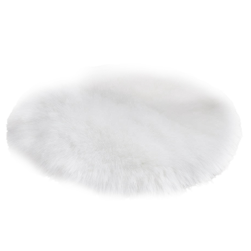 Faux fur rug, soft Fleece imitation Area Anti-slip mats Yoga mats for living room Bedroom Sofa Floor mats (White round, 60 x 6