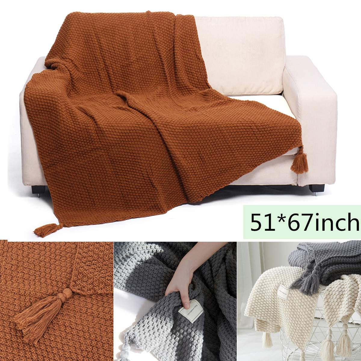 130x170cm Solid Color Air Conditioning Travel Blanket With Tassel Knitted Blanket for Bed Sofa Home Textile Throw Blanket