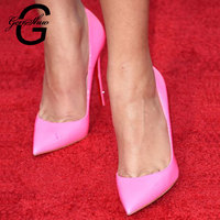GENSHUO 2019 Women Shoes Pointed Toe Pumps Patent Leather Dress High Heels Boat Wedding Zapatos Mujer Bridal Shoe Pink Size 5 12