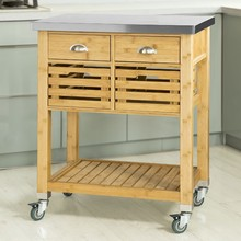 SoBuy® FKW40-N Bamboo Kitchen Serving Storage Trolley