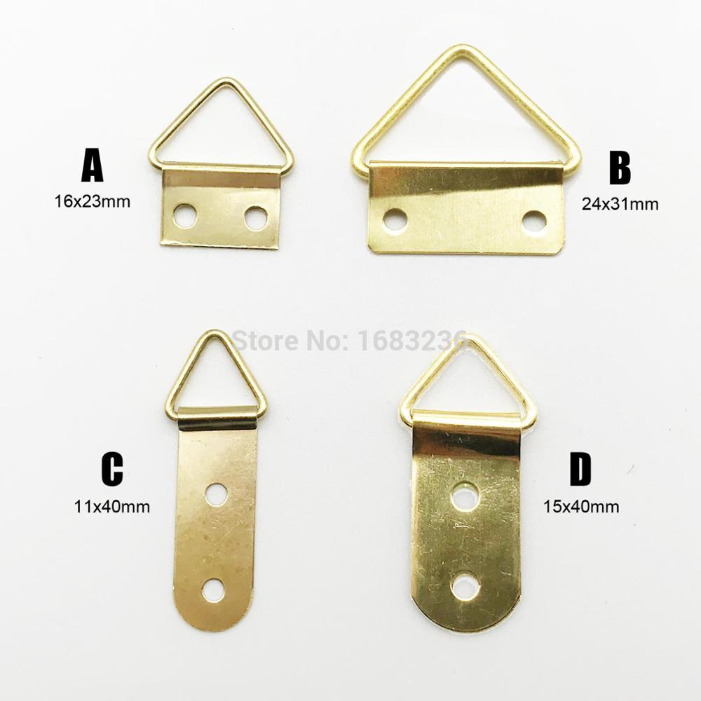 Us 4 49 10 Off 50pcs Golden Triangle D Ring Photo Picture Frame Hanger Hang Oil Painting Mirror Art Work Hooks Double 2 Holes With S In