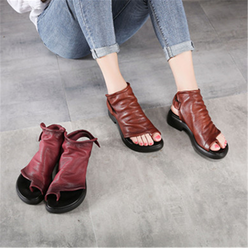 Sandales Doux Es D'été Femmes Flip Flop Chaussures Cuir Forme Vin