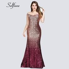 Sexy Plus Size Sequin Party Dress 2019 Vestidos De Fiesta Elegant Mermaid V Neck Off Shoulder Long Formal Dresses Women Evening