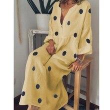 цена на Plus Size Women Polka Dot Printed Long Beach Dress 2019 Summer Sexy V Neck Long Sleeve Boho Dress Loose Casual Shirt Dresses