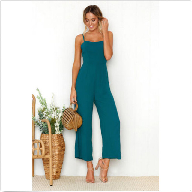 Women Casual Bodysuits Womens Fashion Slim Sleeveless Pants Suspender Trousers Jumpsuit Casual Rompers 1
