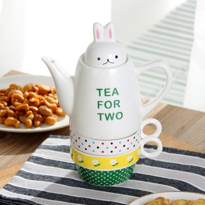 3D Bunny après-midi thé café Pot Teaware ensemble avec tasses encombrées bouilloires théière Teakettle enfants enfants petit déjeuner lait Pot tasses