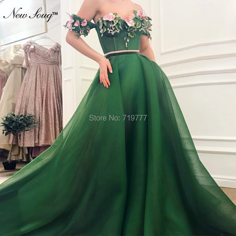 Green Off The Shoulder   Prom     Dresses   2019 Custom Appliqued Tulle Party Gowns Robe De Soiree Formal Evening   Dress   For Saudi Arabic