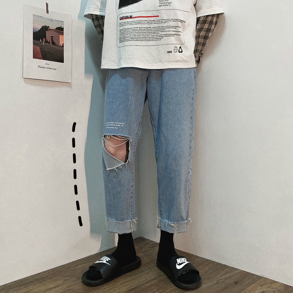 2019 Korean Style Men's Fashion Trend Baggy Homme Blue Color Jeans Loose Trousers Holes Printing Jeans Casual Pants Size S-2XL