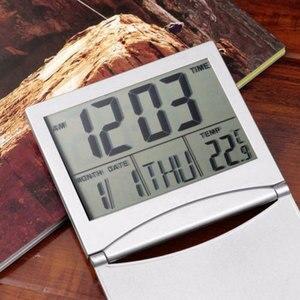 Image 2 - Mini składany LCD cyfrowy budzik zegar biurko stół stacja pogodowa biurko temperatura przenośny budzik podróżny