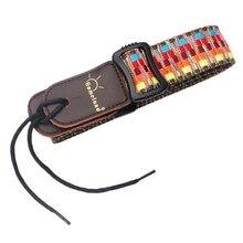 dedo ma 52 fashionable nylon adjustable guitar bass strap dark red black Adjustable Nylon Guitar Bass Strap w Leather Ends Stripy Pattern for Ukulele Banjo