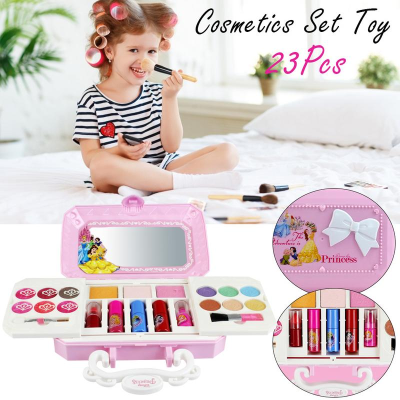 23pcs Princess Cosmetic And Moveable Makeup Palett For Disney Cosmetics Set Toy Make Up Kits Cute Play House Children Gift