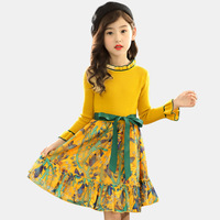 Girls Knitted Dress Spring Autumn Girls Dress Floral Pattern Girls Party Dress Kids Teenage Clothes For Girls 6 8 10 12 14 Years
