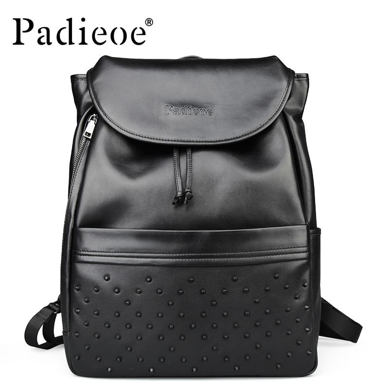 Rucksack Padieoe Aus Luxus Mode Laptop Leder Zurück Männer Gepäck College Wasserdichte Reise Herren Pack Tasche Echtem Bookbag 8B5XB