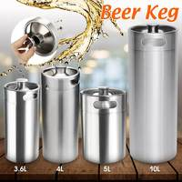 2/3.6/4/5/10L Stainless Steel Mini Beer Keg Pressurized Growler for Craft Beer Dispenser System Home Brew Beer Brewing