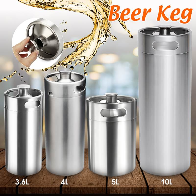 2/3.6/4/5/10L Stainless Steel Mini Beer Keg Pressurized Growler for Craft Beer Dispenser System Home Brew Beer Brewing image