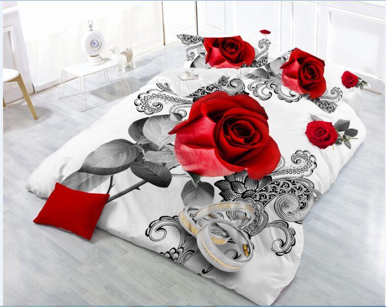 New Beautiful 3D Flower Rose Feast Pattern Bedding Set Bed Sheets Duvet Cover Bed Sheet Pillowcase 4pcs/set 19