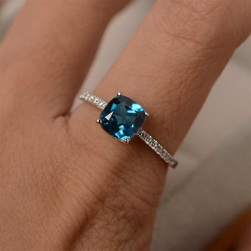 1 PC สีเขียวสีฟ้าสี Silver บิ๊กสแควร์หินขนาด 6,7, 8,9, 10 หมั้นแหวนคริสตัลงานแต่งงานของขวัญวาเลนไทน์