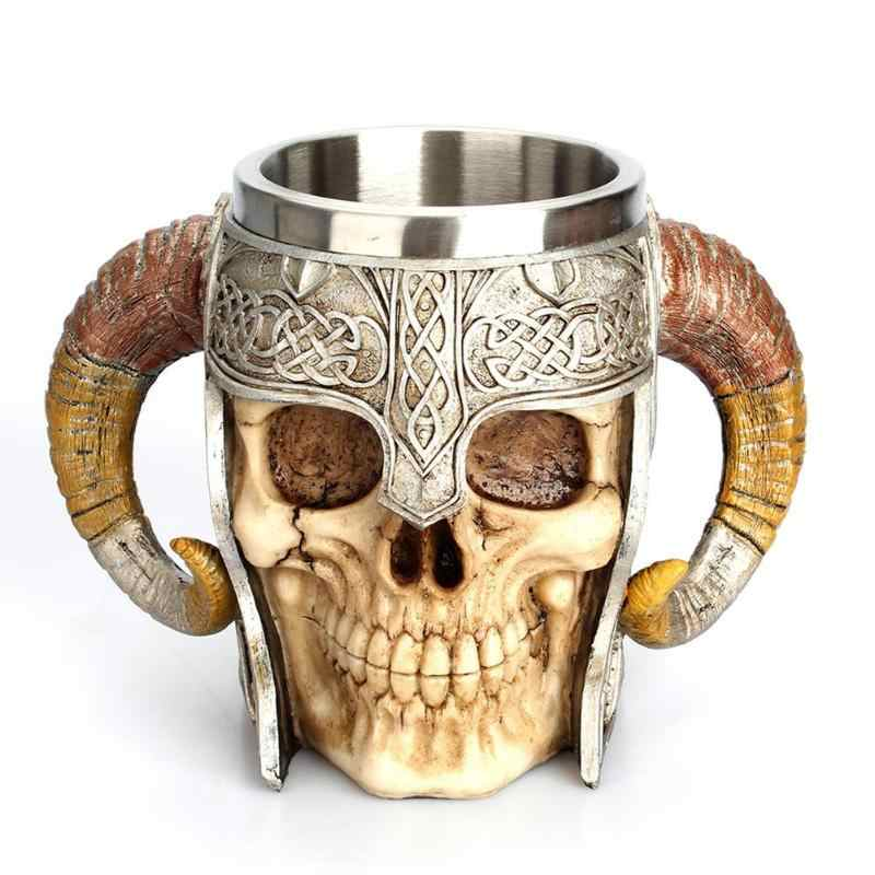 Stainless Steel Skull Mug Viking Drinking Cup Skeleton Resin Beer Stein Tankard Coffee Mug Tea Cup Halloween Bar Drinkware Gift