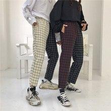 Vintage Patchwork Paid Pants Straight Harajuku Women Trousers Korean Causal Elastic Waist
