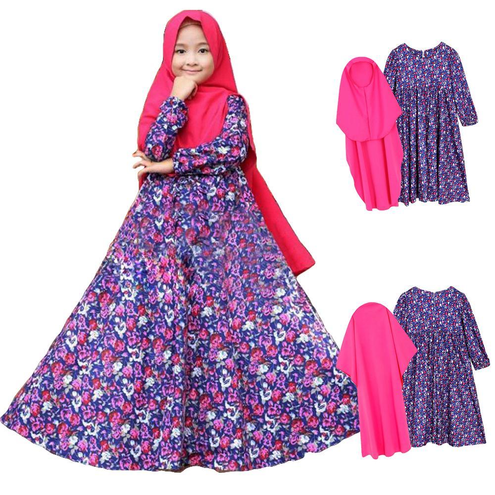 51902fcb7eb 2PCS Muslim Kids Girls Prayer Long Dress Hijab Set Floral Print Kaftan Arab  Abaya Jilbab Ramadan