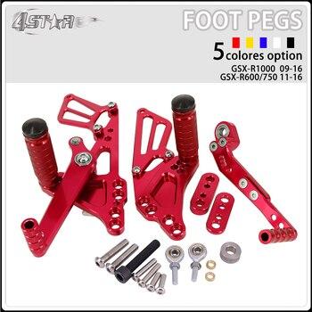 Motorbike CNC Aluminum Adjustable Footpegs Foot Pegs Footrest Pedals Rests Rear Set For SUZUKI K9 GSXR1000 GSXR 1000 2009-2016
