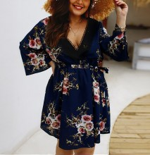 Summer Women Plus Size Mini Dress Floral Sexy V Neck Ladies Long Sleeve Print Sundress