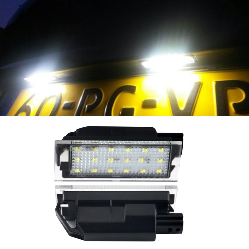 2pc Xenon White Clio Espace Kadjar Laguna III Master Megane Trafic Car <font><b>LED</b></font> License Plate Lights <font><b>Lamp</b></font> for <font><b>Renault</b></font> image