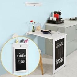 SoBuy Branco Folding Tabela Drop-Folha de Parede-Montado, Kitchen & Mesa de Jantar com Blackboard FWT20-W