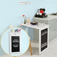 SoBuy White Folding Wall-Mounted Drop-Leaf Table, Kitchen & Dining Desk with Blackboard FWT20-W sobuy fwt47 n wall mounted table kitchen dining wall children desk computer workstation