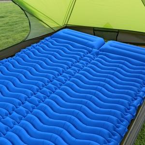 Image 2 - Tomshooダブルスリーピングパッド 2 人超軽量ポータブルマットレスインフレータブルマットキャンピングマットベッド屋外枕